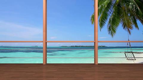 04HDTV Morning News Virtual Studio Green Screen Background Yoga beach CG動画