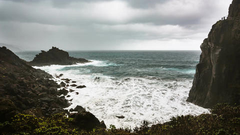 La Palma Playa De Nogales Storm Waves, Spain Footage