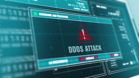 ddos attack Computer Screen Login And Password Alert Security Warning Animation
