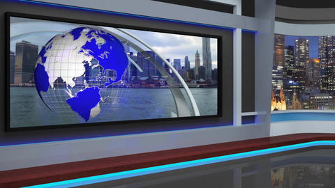 08HDTV News Virtual Studio Green Screen Background Blue Colour with Rings Animation