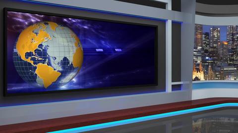 10HD News Virtual Studio Green Screen Background Yellow-Blue Globe Animation