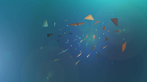 Polygonal explosion on blue abstract background Animation