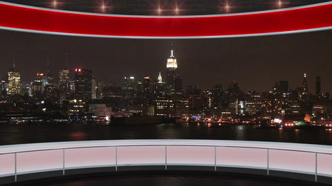 14HDTV News Virtual Studio Green Screen Background Red Cityscape Animation