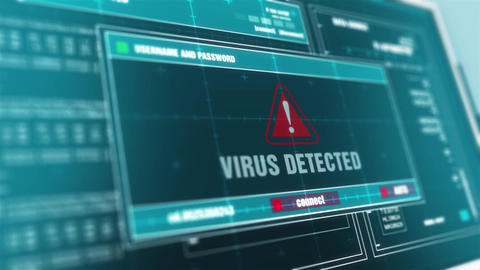Virus detected Computer Screen Login And Password Alert Security Warning Animation