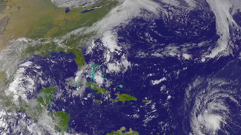 The Hurricane Matthew, satellite view, animation. High speed time lapse Footage
