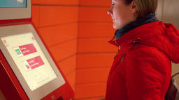 MOSCOW, RUSSIA - CIRCA November 2017: Woman using touchscreen payment terminal Footage