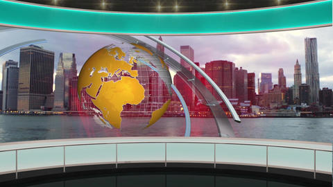 22HDTV News Virtual Studio Green Screen Background Green Yellow Globe Cityscape Animation