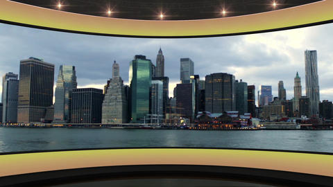 21HD News Virtual Studio Green Screen Background Yellow Cityscape Animation
