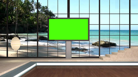 30HDTV News Virtual Studio Green Screen Background Beach Monitor Animation