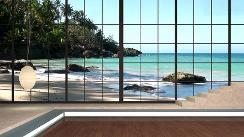 33HDTV News Virtual Studio Green Screen Background Beach Waves Palm Animation