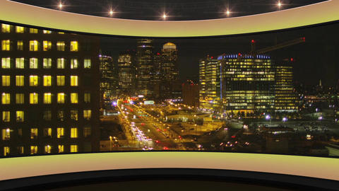 38HDTV News Virtual Studio Green Screen Background Yellow CityScape Animation