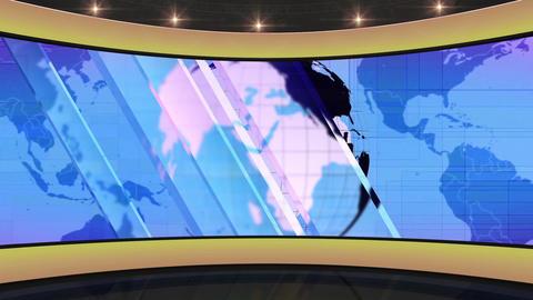 HDTV News Virtual Studio Green Screen Background Yellow Blue Globe Animation