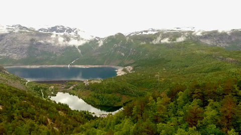 Norway. beautiful landscape of Norway. Blue lake in the background of mountains GIF