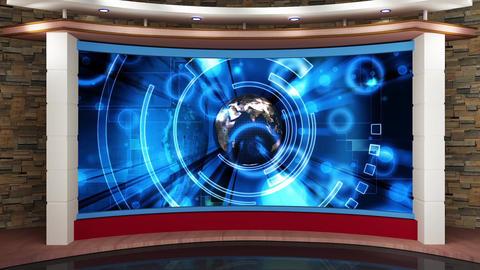 HDTV News Virtual Studio Green Screen Background Red Blue Globe Animation