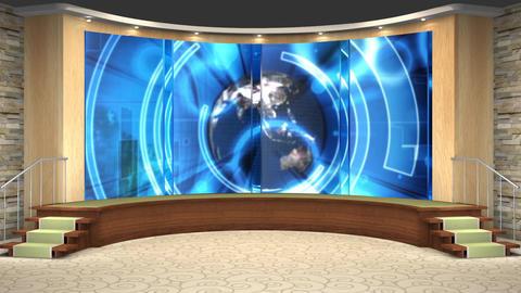 47HD News TV Virtual Studio Green Screen Background Blue Globe Animation