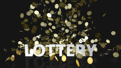 Lottery Concept with Gold Coins Falling From the Sky Footage