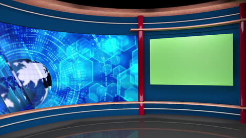 57HD TV News Virtual Studio Green Screen Background Blue Globe Monitor Animation