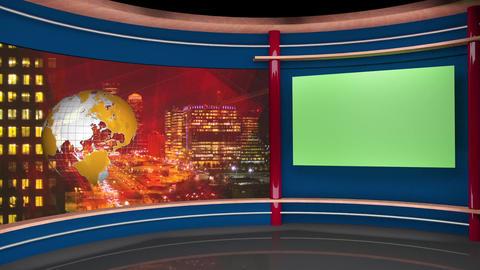 58HD TV News Virtual Studio Green Screen Background Yellow Globe Nightcity Animation