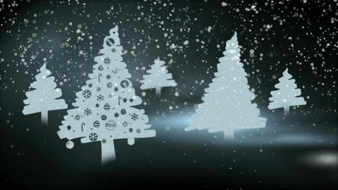 Christmas trees in the snowy night Animation
