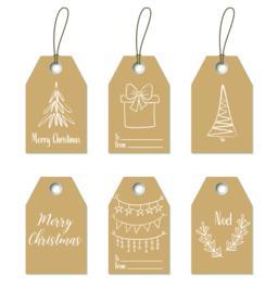 Christmas gift tags. Hand drawn craft labels Vektorgrafik