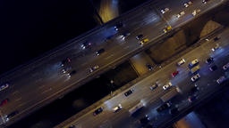 Aerial top down view of big highway traffic jam in the evening rush hour Footage
