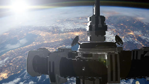 4K Animation of a futuristic spaceship flying in space Filmmaterial