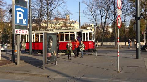 Vienna, Austria - November 2017: Vintage tram on the streets of Vienna.. Austria Footage