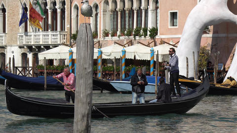VENICE, ITALY - OCTOBER, 2017: Majestic grand canal in Venice, and water traffic Footage