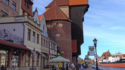 GDANSK, POLAND - May 07 2017: Gdansk Old Town and Motlawa River Footage