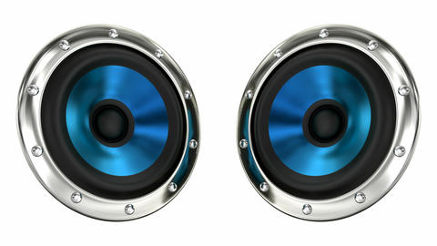 Blue loudspeakers looping 3D animation with alpha mask Animation
