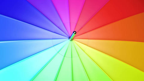 UHD closeup of the spinning colorful umbrella Animation