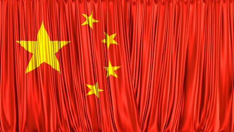 Realistic 3D animation of the flag of People's Republic of China as the curtain Animation