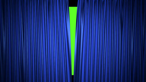 Movie theater blue curtain opening realistic 3D animation Animation