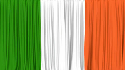 Realistic 3D animation of the National flag of Ireland as the curtain Animation