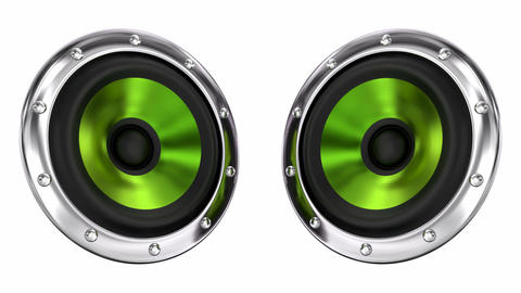 Green loudspeakers looping 3D animation with alpha mask Animation