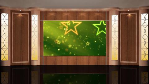 74HD News Talkshow TV Virtual Studio Green Screen Background Wood Green CG動画