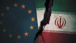 European Union vs Iran Flags on Cracked Wall Animation