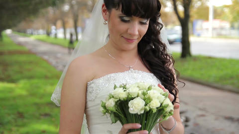 Beautiful bride with a wedding bouquet Live Action