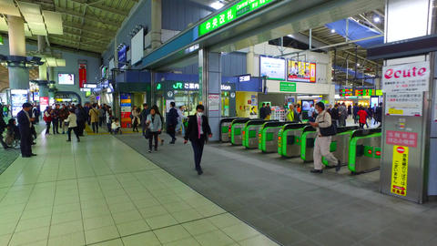 Central ticket gate of Shinagawa station in Tokyo Japan Footage