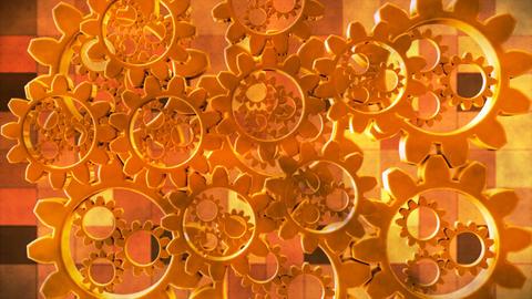 Broadcast Spinning Hi-Tech Gears, Golden Orange, Industrial, Loopable, 4K Animation