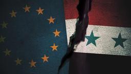 European Union vs Syria Flags on Cracked Wall Animation