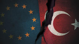 European Union vs Turkey Flags on Cracked Wall Animation