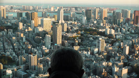 Japan Tokyo man watching Tokyo from above Footage