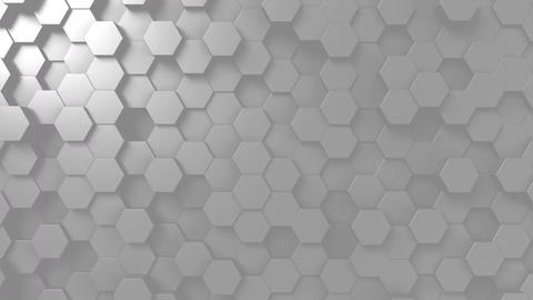 Abstract light gray hexagonal motion background, seamless loop Footage