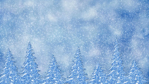 Pine trees at snowfall, frosty landscape, winter snow scene with forest Animation