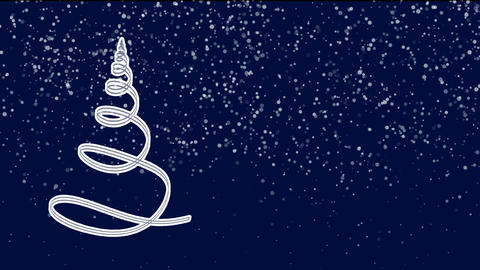 White ribbon in the shape of Christmas tree with snowflakes, festive background Animation