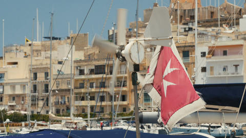 Malta flag on a ship Image