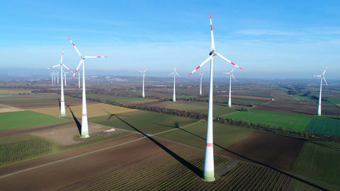 Spinning wind turbines - aerial view Footage