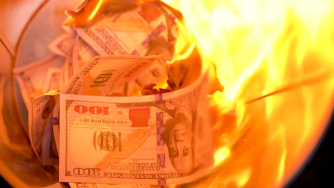 Burning dollars in the trash can close-up Footage