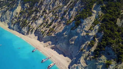 Aerial of coastline Lefkas bove Egremni beach, Greece Footage